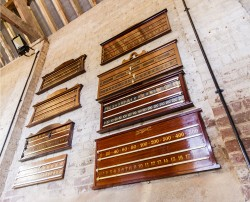 Antique snooker scoreboards on display at Brown's Antiques.
