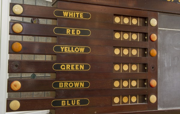 An antique life pool scoreboard with chalkboard and ballbox. | Browns Antiques Billiards and ...