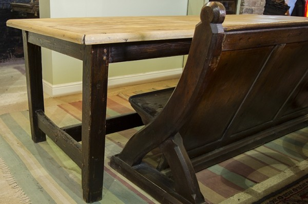 Antique Pine Dining Table With Darker Base Almost 8ft Long
