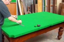 Antique snooker table restoration. Replacing bedcloth  new baize.