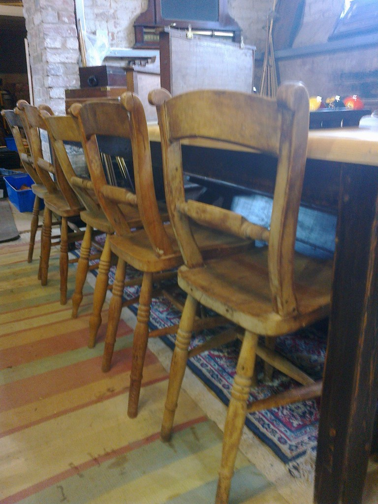 Set of 6 scroll back / bar back chairs in beech and elm
