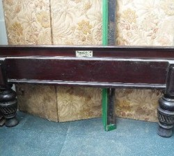 Burroughes and Watts full size antique snooker / billiards table with steel block cushions.