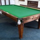 9ft Antique Snooker Dining Table by Padmore, oak.