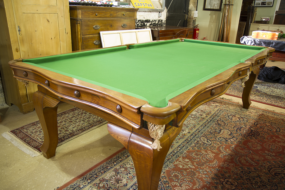 Antique Serpentine Snooker Dining Table by Riley in oak. Fully restored by Brown's Antiques Billiards and Interiors.