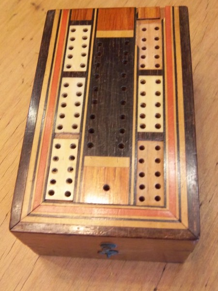 Antique Cribbage Playing Cards Box Inlaid Browns