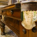 9ft antique snooker table with carvings.Side detail.