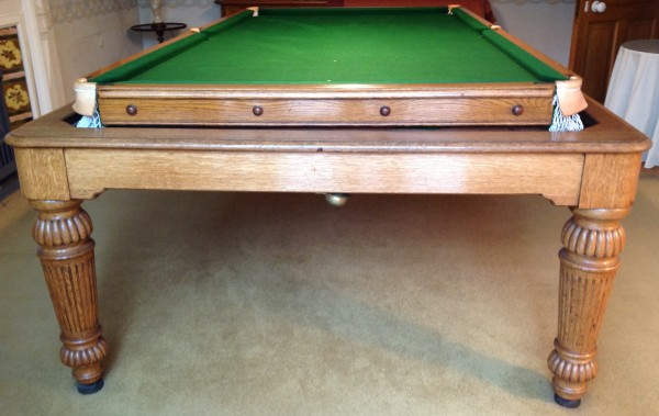 8ft Rollover Antique Snooker Dining Table Oak Thomas