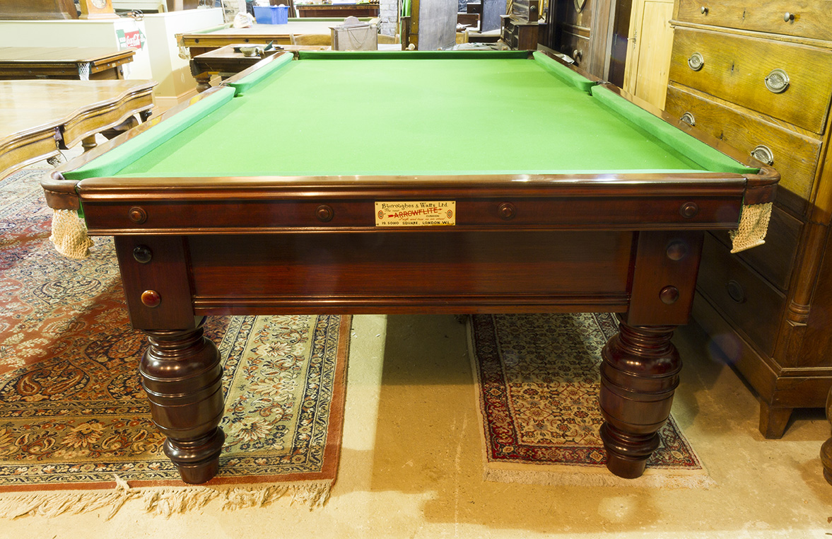 Antique snooker table by Burroughes and Watts