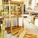 Custom made snooker cue racks in oak and mahogany