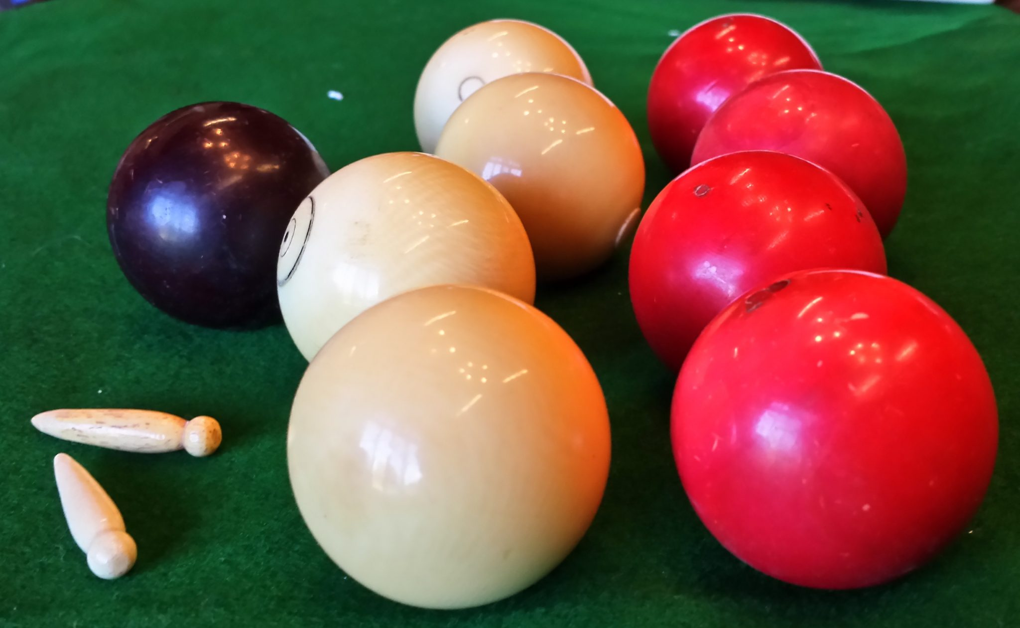 Antique bagatelle balls