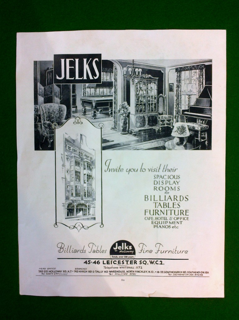 Jelks antique billiards table advert