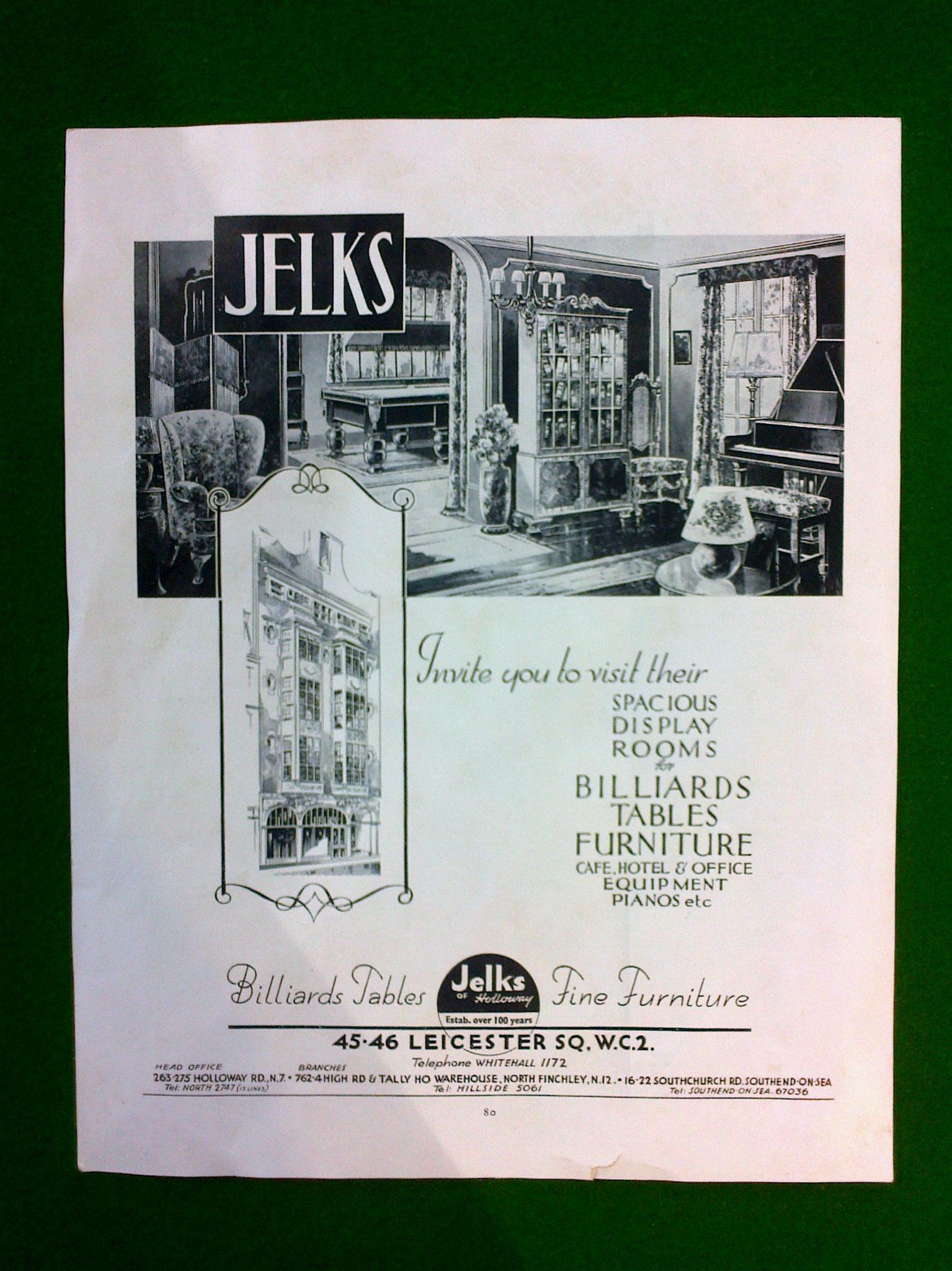 Jelks Antique Billiards Tables Advert Billiards Tables