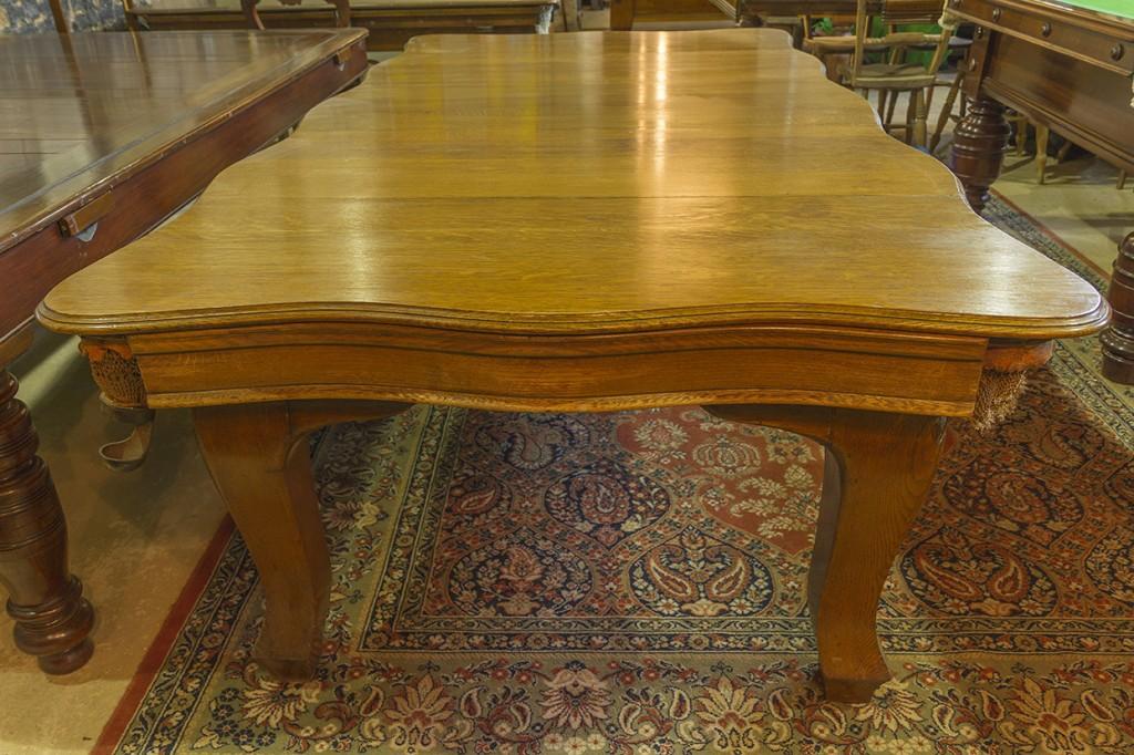 Riley antique snooker dining table.7ft oak serpentine