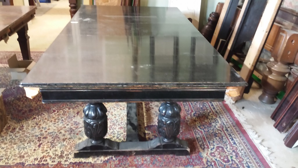 Riley antique refectory snooker dining table before restoration.Dining surface.