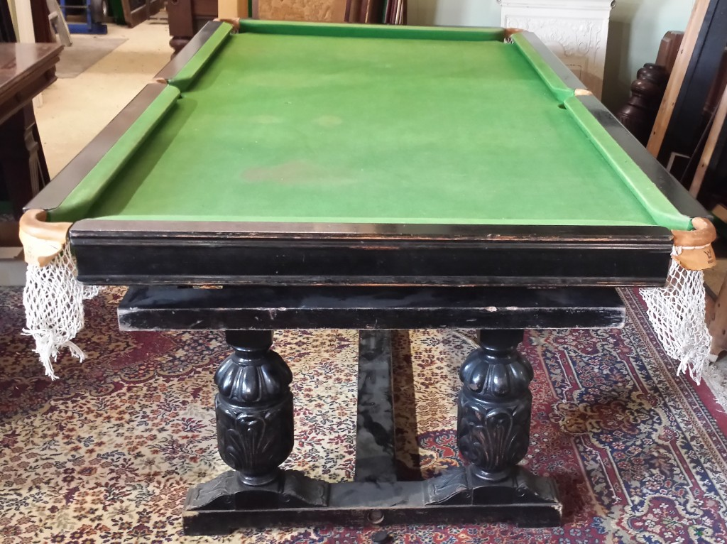 Riley antique refectory snooker dining table before restoration.