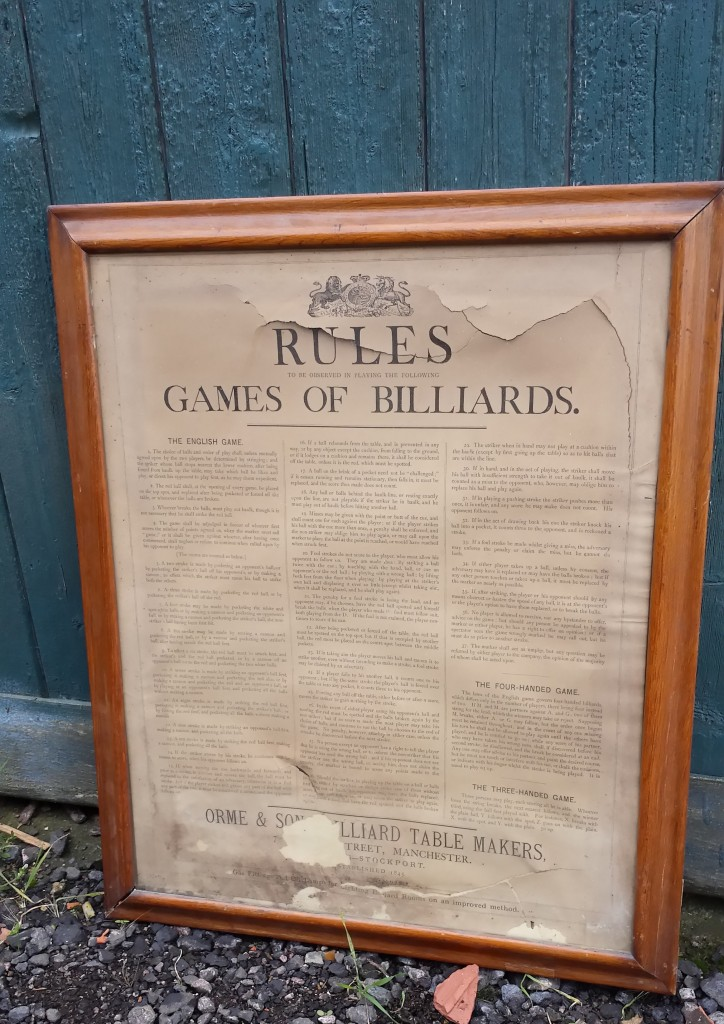 Antique framed Rules of Billiards by Orme