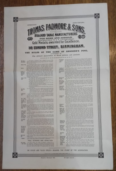 Framed Antique Thomas Padmore Snooker S Pool Rules 1913