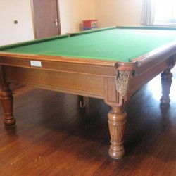 10ft antique oak snooker table by Burroughes and Watts