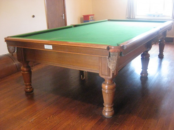 10ft antique billiards table in oak by burroughes and for 10ft snooker table
