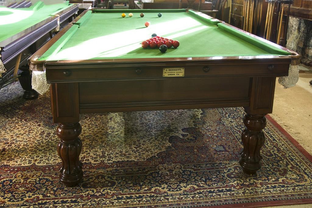 9ft John Bennett antique snooker table