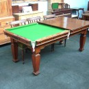 Antique snooker diner table with leaves.