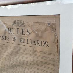 Framed antique Orme rules of Billiards