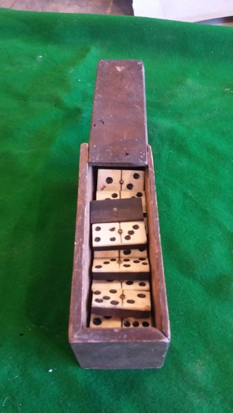 Vintage Dominoes In Wooden Box Browns Antiques Billiards