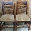 2 antique country chairs with rush seats