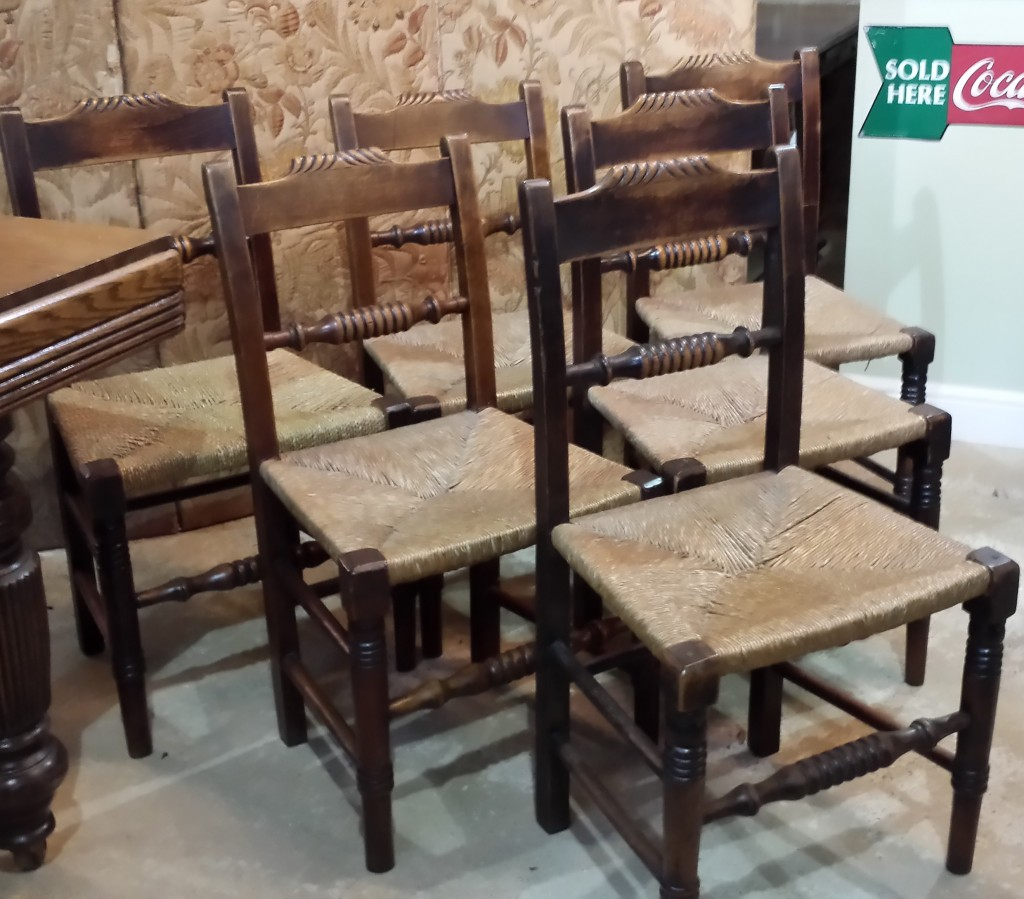 Set of six antique country chairs with rush seats. (7)
