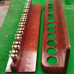 2 part snooker cue rack. 12 clip antique wall rack in mahogany.