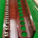 B559b 12 clip antique mahogany wall rack snooker cues (4)