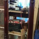 B573 Edwardian mahogany cue rack and mirror