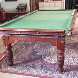 B578 8ft Burroughes and Watts oak snooker dining table. (2)