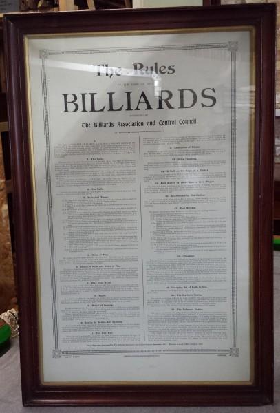 Vintage Framed Snooker Rules Browns Antiques Billiards