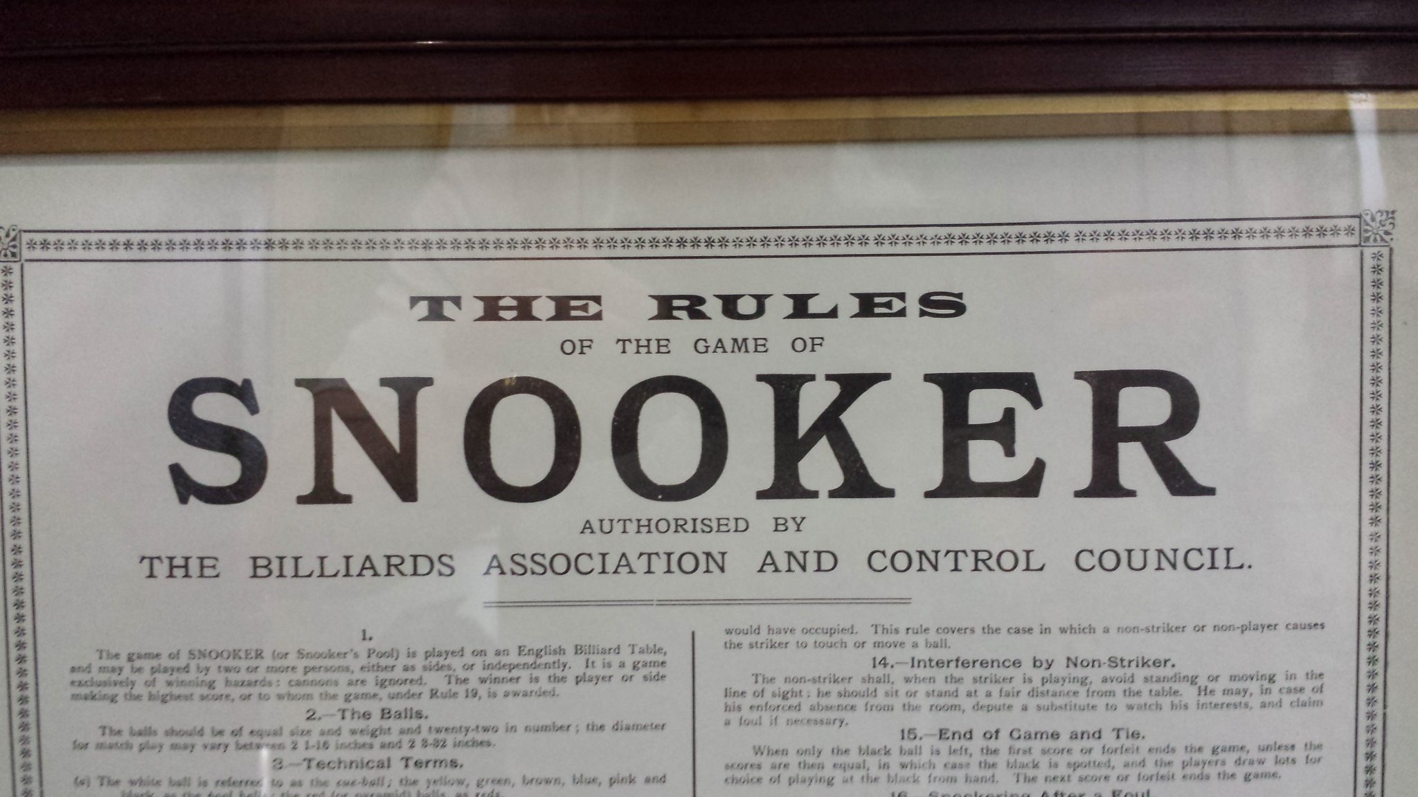 Framed Snooker Rules 2 Browns Antiques Billiards And