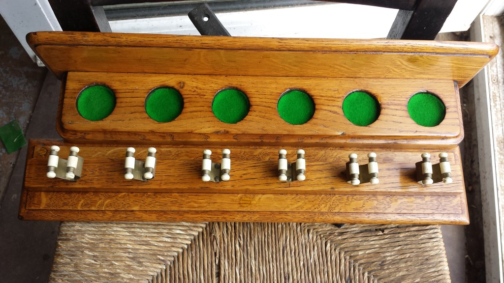 Antique oak snooker cue rack