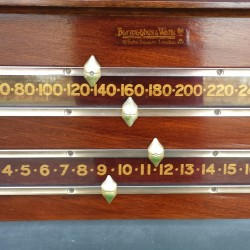 Burroughes and Watts antique snooker scoreboard mahogany