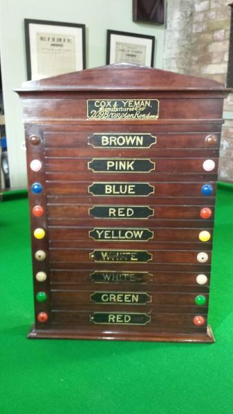 Cox And Yeman Mahogany Antique Life Pool Scoreboard