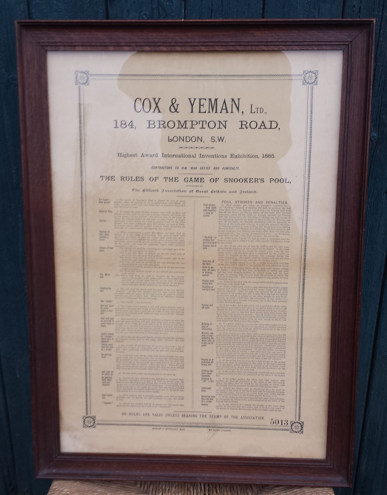 Cox And Yeman Rules Of The Game Of Snookers Pool Browns