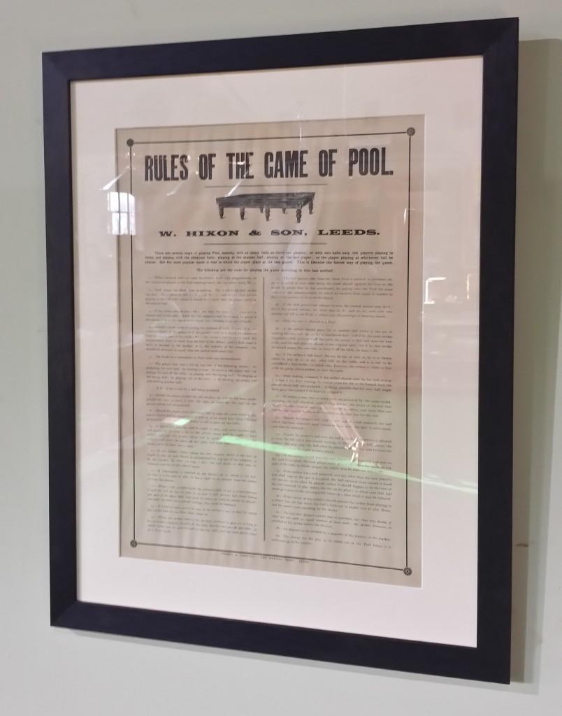 Framed pool rules