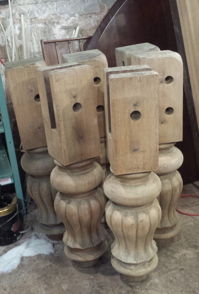 Cox and Yeman stripped snooker table legs.