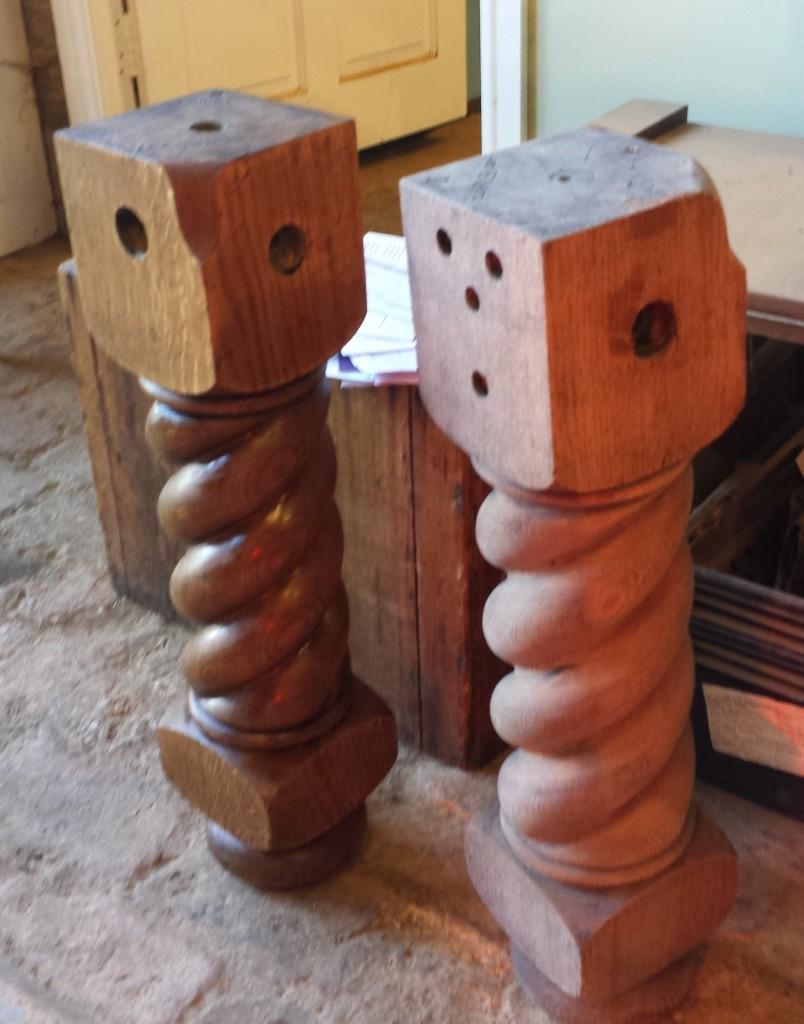 Barleytwist antique snooker table legs. Riley