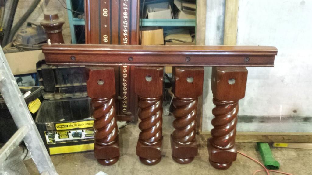 Restorating antique Riley snooker diner with barleytwist legs.