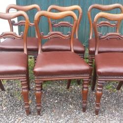 Set of 6 Victorian mahogany balloon back chairs