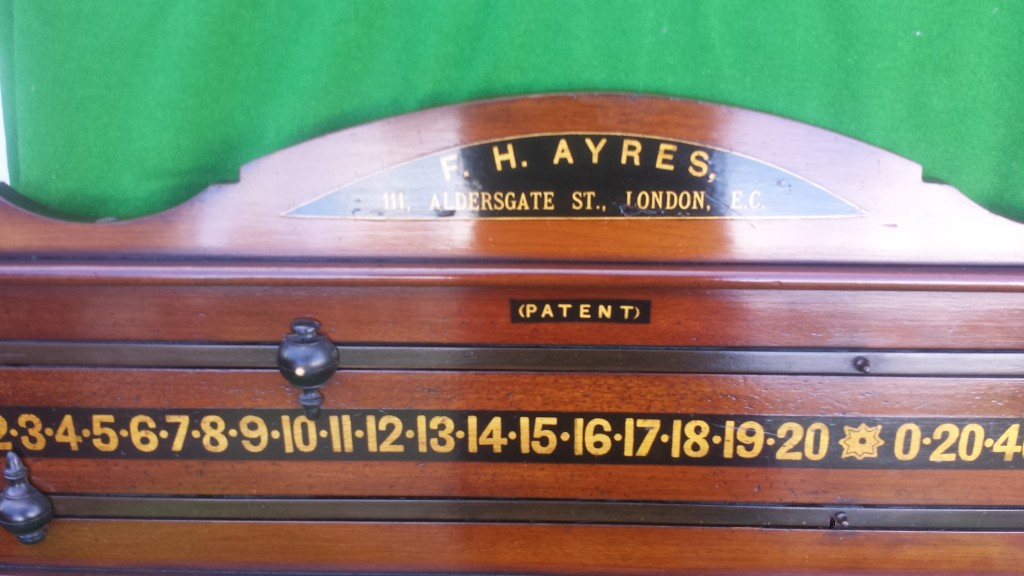 Restored antique snooker scoreboard