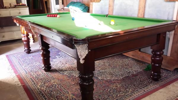9ft Antique Snooker Billiard Table In Mahogany B453