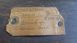 Darby & Joan Streatham label, found on reverse of 10ft Burroughes and Watts billiards table