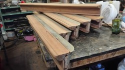 Billiard table cushions, after stripping off old polish.