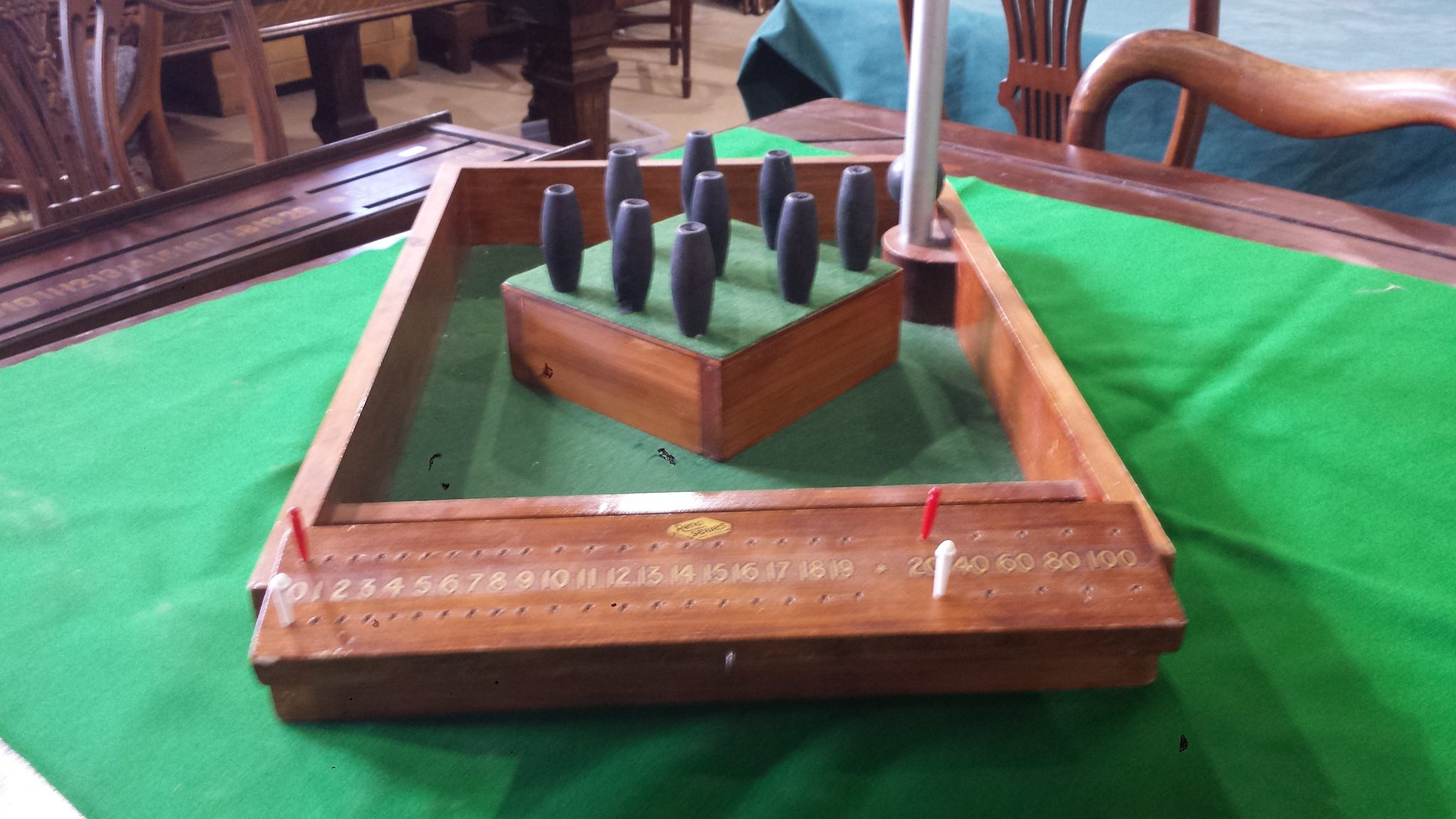 Vintage Bar Skittles Game With Scoreboard 2 Browns