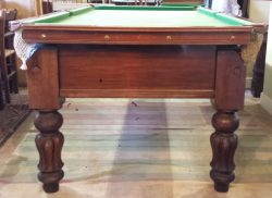 7ft Antique Mahogany snooker Table. Jelks. Tulip leg